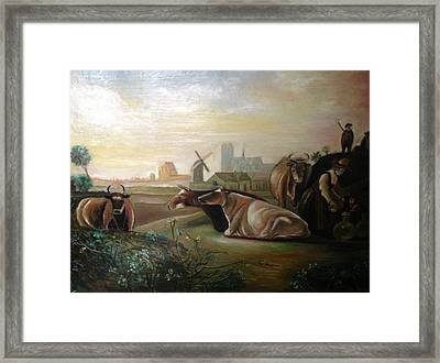 Framed Print featuring the painting Country Landscapes With Cows by Egidio Graziani