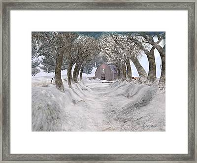 Country Lane In Winter Framed Print by Kylie Sabra