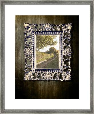 Country Lane Reflected In Mirror Framed Print by Amanda Elwell