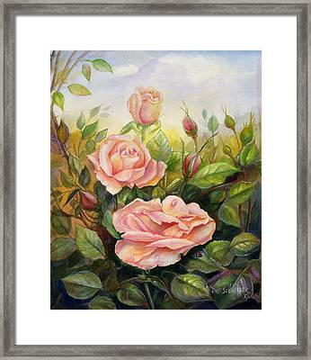 Framed Print featuring the painting Country Living Rose by Patricia Schneider Mitchell