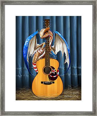 Framed Print featuring the digital art Country Music Dragon by Stanley Morrison
