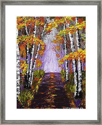 Country Road And Birch Trees In Fall Painting Framed Print by Keith Webber Jr