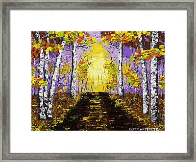 Country Road And Coloful Birch Trees In Fall Framed Print by Keith Webber Jr