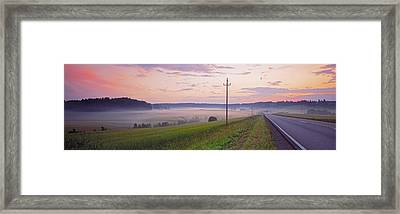 Country Road And Telephone Lines Framed Print