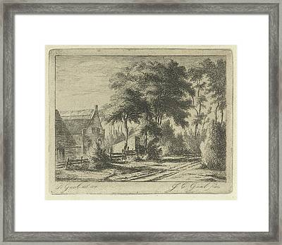 Country Road At A Farm, Jacobus Cornelis Gaal Framed Print