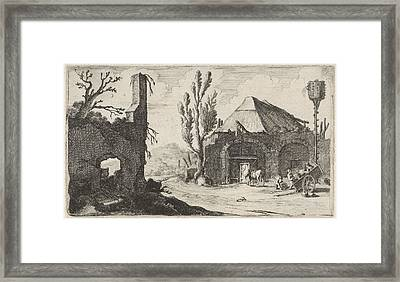 Country Road At A Ruin And An Inn, Gillis Van Scheyndel Framed Print
