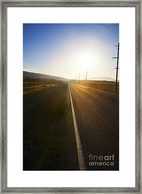 Country Road At Sunset Framed Print