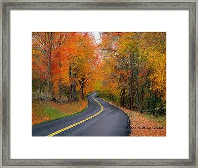 Framed Print featuring the painting Country Road In Autumn by Bruce Nutting