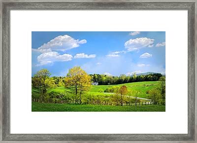 Country Road In Blue Ridge Framed Print by Debra and Dave Vanderlaan