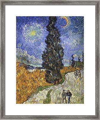 Country Road In Provence By Night Framed Print by Vincent van Gogh