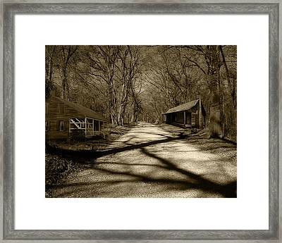 Country Road In Sepia Framed Print