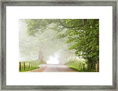 Country Road In The Fog Framed Print by Andrew Soundarajan