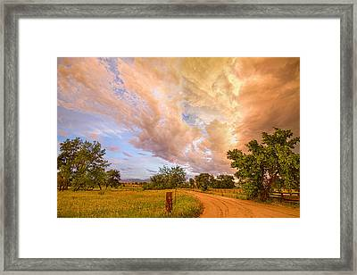 Country Road Into The Storm Front Framed Print