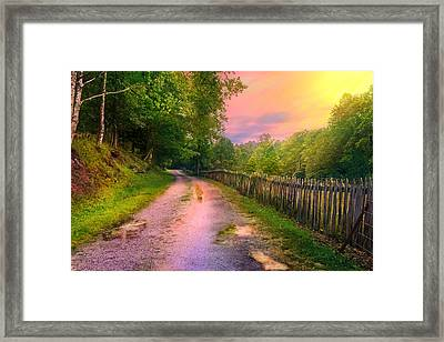 Country Road Take Me Home Framed Print by Mary Almond