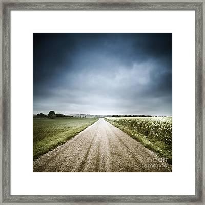 Country Road Through Fields, Denmark Framed Print by Evgeny Kuklev