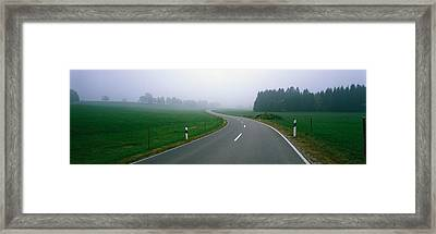 Country Road With Fog, Near Vies Framed Print by Panoramic Images