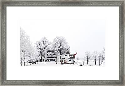 Country Side House In Canada Winter Time Framed Print by Marek Poplawski