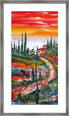 Country Side Sunset In Tuscany Framed Print
