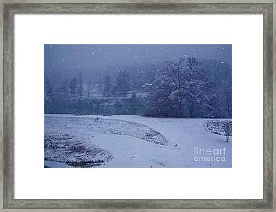 Country Snowstorm Landscape Art Prints Framed Print by Valerie Garner