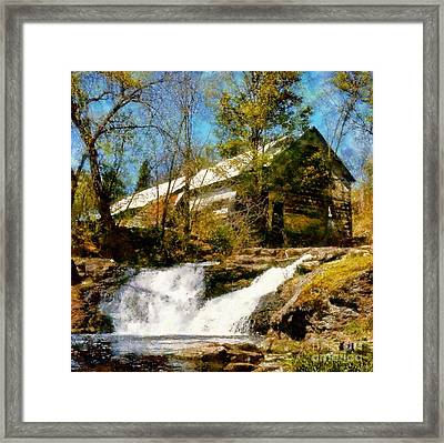 Country Spring Waterfalls By The Old White Barn Framed Print by Janine Riley