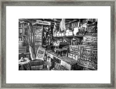 Country Store Supplies Black And White Framed Print