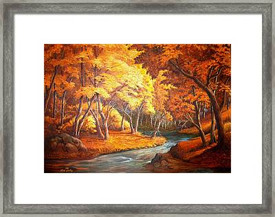 Framed Print featuring the painting Country Stream In The Fall by Loxi Sibley