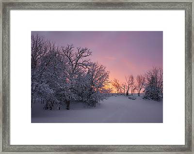 Country Sunset - Farm In Winter Framed Print