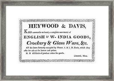 Country Trader Card, C1830 Framed Print by Granger
