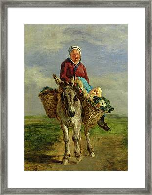 Country Woman Riding A Donkey Framed Print by Constant-Emile Troyon