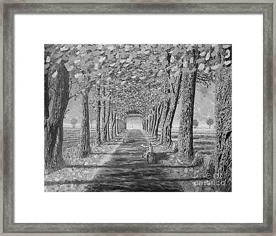 Framed Print featuring the painting Country.fall.bw by Viktor Lazarev