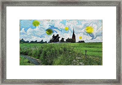 Framed Print featuring the digital art Countryside Impressioniism by Mary M Collins