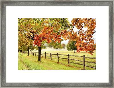 Countryside Landscape With Fence Framed Print by Jena Ardell