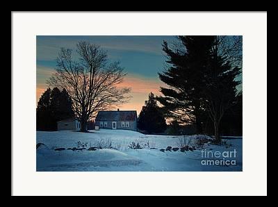 Maine Farmhouse Digital Art Framed Prints