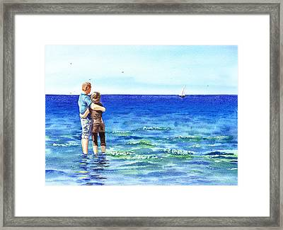 Couple And The Sea Framed Print