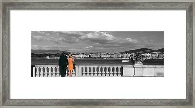Couple At Leman Geneva Switzerland Framed Print by Panoramic Images