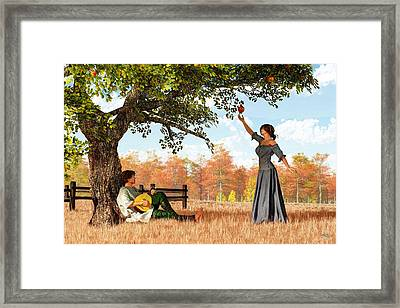 Couple At The Apple Tree Framed Print by Daniel Eskridge