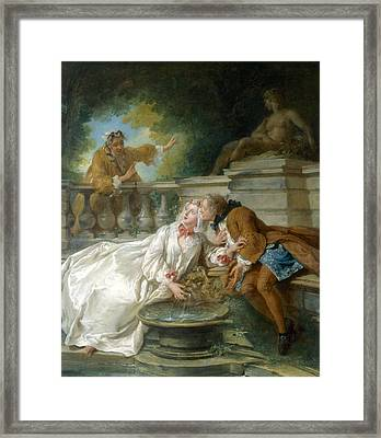 Couple Called Fete Champetre, 1730 Framed Print by Jean-Baptiste Joseph Pater