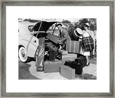 Couple Going On Vacation Framed Print by Underwood Archives