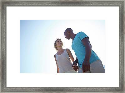 Couple Holding Hands On Beach Framed Print