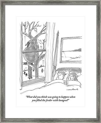 Couple In Bed Framed Print by Michael Crawford