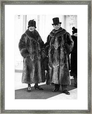 Couple In Coonskin Coats Framed Print by Underwood Archives