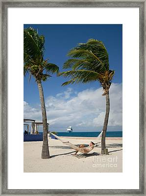 Couple In Hammock On Beach Framed Print