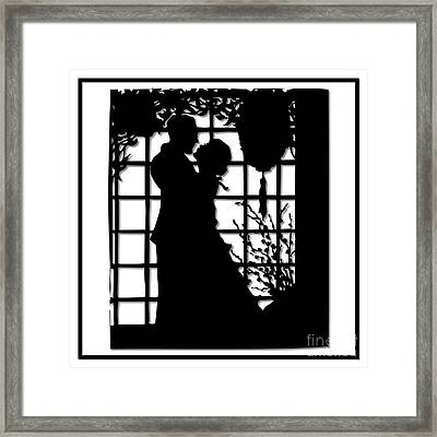 Couple In Love Silhouette Framed Print