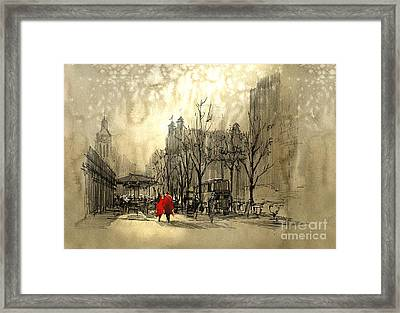 Couple In Red Walking On Street Of Framed Print by Tithi Luadthong