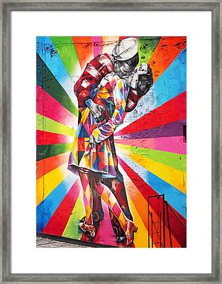 Couple Kissing In Times Square On V-j Day Framed Print by Rona Black