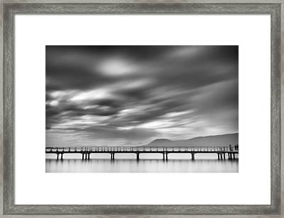 Couple On A Bridge Framed Print