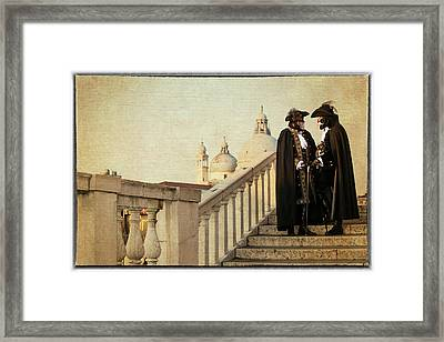 Couple On Bridge During Carnival Venice Framed Print by Darrell Gulin
