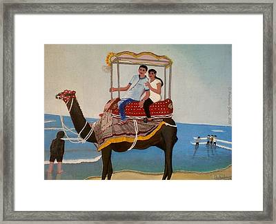Couple On Camel Framed Print