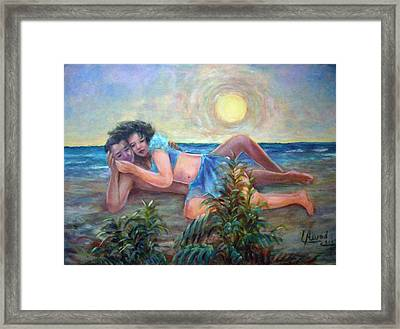 Couple On The Beach Framed Print by Laila Awad Jamaleldin