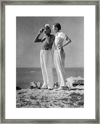 Couple On The Maine Shore Framed Print